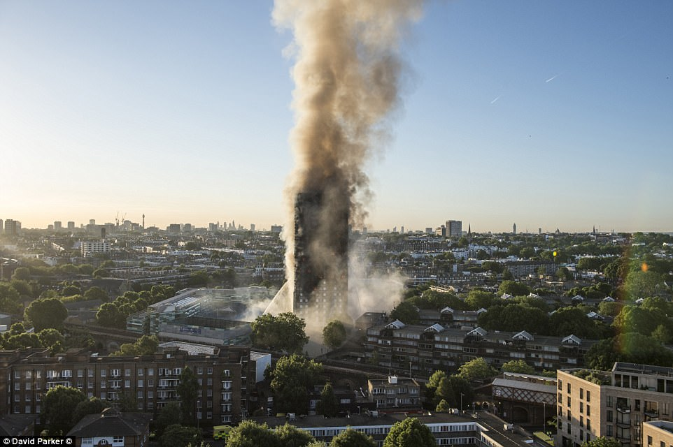 Police would not confirm how many people are unaccounted for because the building is still on fire 12 hours after it started (pictured this after) - six are known to be dead but the toll is likely to be much highter