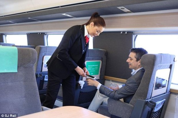 Swedish nationals can embed microchips under the skin on the back of a person's hand. SJ Rail, a Swedish rail operator, uses the chips to allow customers to pay for tickets (pictured)
