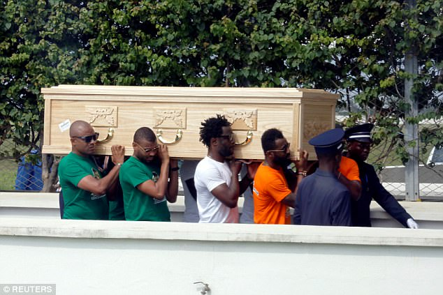 Cheick Tiote's coffin is carried by his former Ivory Coast team-mates at Port Bouet airport