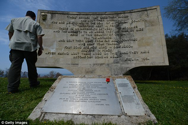 Anzac Cove's monument in Turkey has been scratched out to featured a more Islamic stance