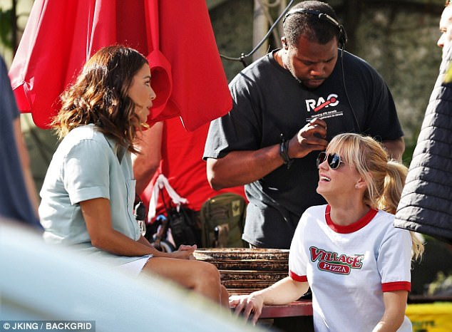 Hard at work: The Mom star was last spotted June 12 gabbing with castmate Eva Longoria on the Vancouver set of Bob Fisher and Rob Greenberg's remake of the 1987 comedy Overboard