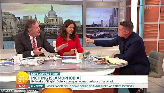 Se vio envuelto en un intenso debate con los presentadores de ITV como Piers Morgan él una etiqueta 'loco intolerante fomentar el odio'