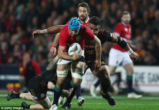 JustinTipuric drives the Lions forward against the Chiefs in their win on Tuesday in Hamilton