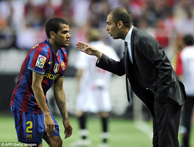 Alves and Guardiola enjoyed a successful spell at Barcelona, winning a number of trophies