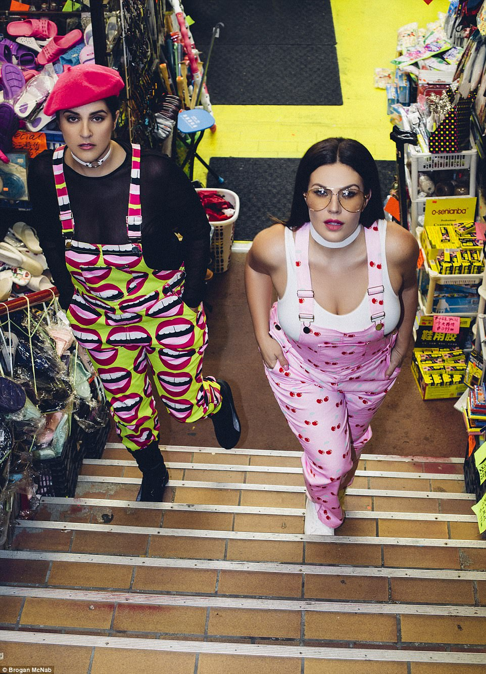 Breaking boundaries: Tia Duffy (left) and Christina Schmidth, both a size 14 (US 10), have teamed up with Canadian designer Hayley Elsaesser - who has dressed the likes of Miley Cyrus - for the striking images which were shot in downtown Toronto