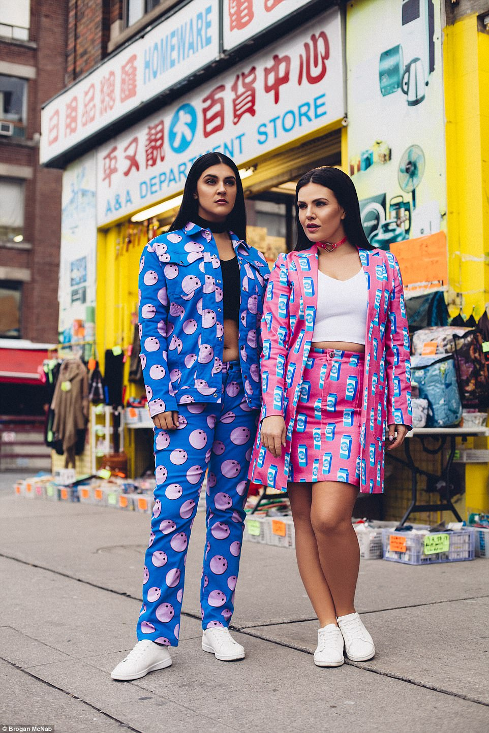 The two plus-size stunners decided to star in the high fashion shoot in a bid to prove that bigger girls can wear bright colours and clashing prints - and Tia (left) said they had a great response from the general public
