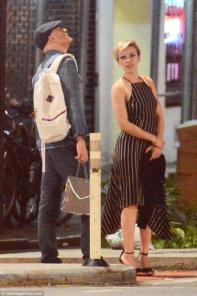 Earning her fashion stripes: The star rocked a flirty pinstripe dress