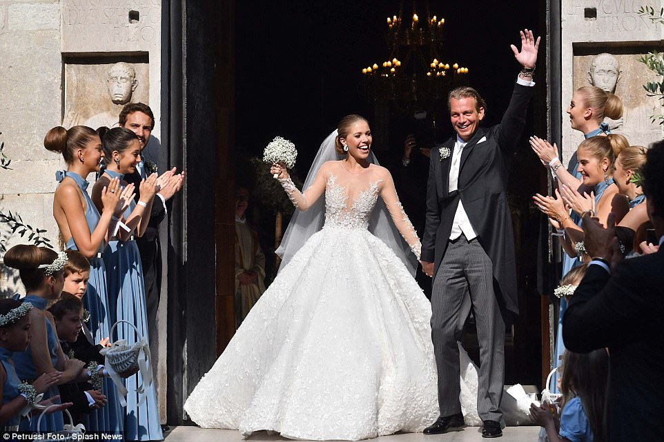 Austrian singer and gemstone heiress Victoria Swarovski wed Werner Muerz in a glittering wedding over the weekend in Trieste, Italy