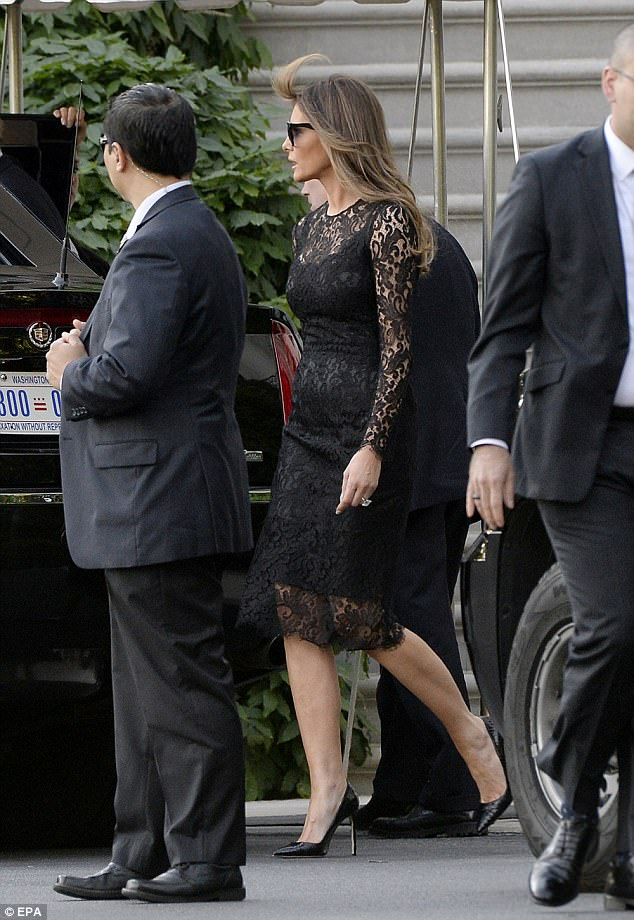 First Lady Melania Trump was elegant in a black lace cocktail dress and black leather stilettos