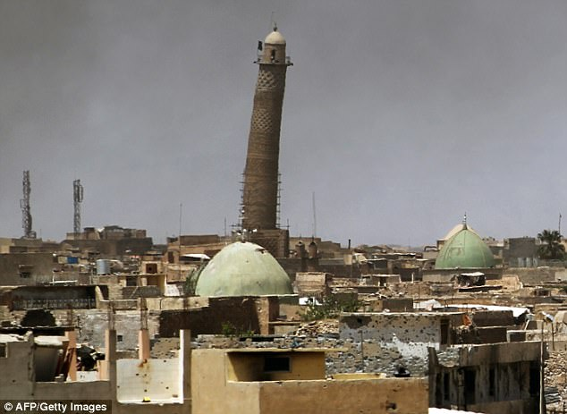 ISIS's notorious black flag has been flying from the mosque since the militants captured Mosul and seized swathes of Iraq and Syria in the summer of 2014
