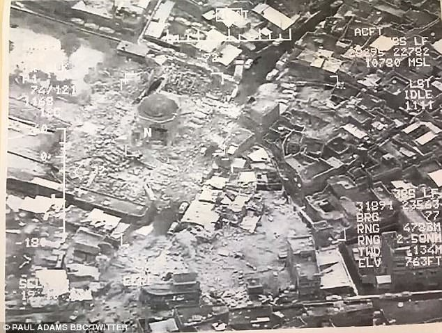 Satellite images circulating on social media purport to show the destroyed al-Nuri mosque in Mosul, Iraq