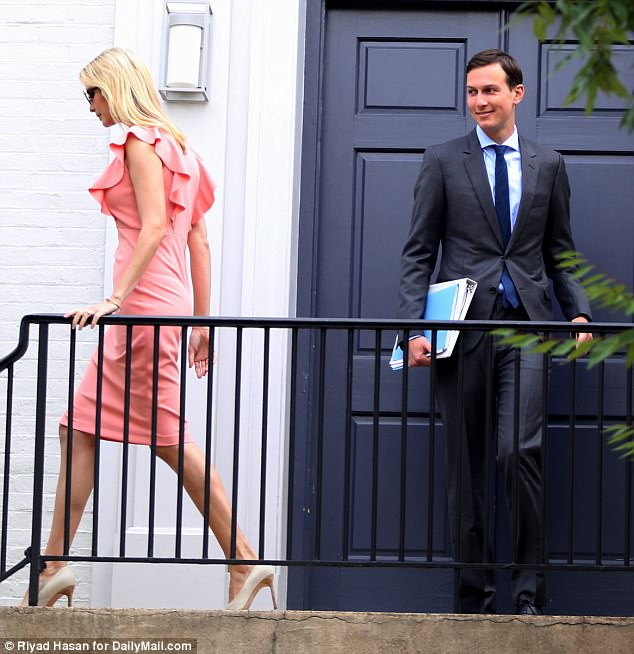 Look of love! Jared only had eyes for his wife as they walked out the front door of their home
