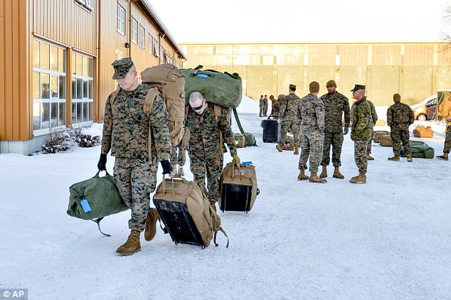 The U.S. force arrived in January and is based near the western city of Trondheim, 900 miles from the Russian border