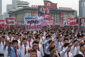 Image result for Thousands of North Koreans turn out for anti-U.S. rally