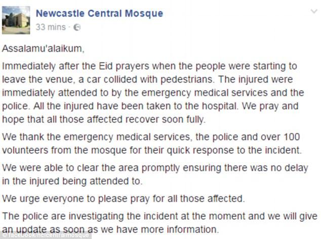 Se escribió en Facebook: 'Agradecemos a los servicios de emergencias médicas, la policía y más de 100 voluntarios de la mezquita por su rápida respuesta al incidente'