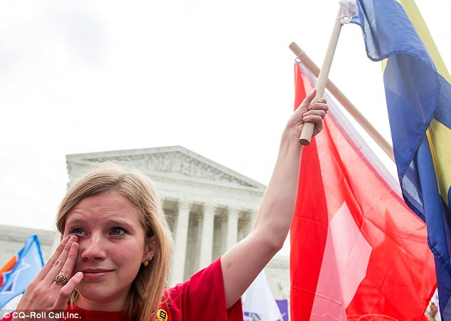 In 2015, Kennedy wrote the majority opinion in Obergefell v. Hodges, the landmark case legalizing same sex marriage be made legal nationwide. Madeleine Troupe of Houston, Texas, wipes tears of joy after the Supreme Court legalized same sex marriage on June 26, 2015