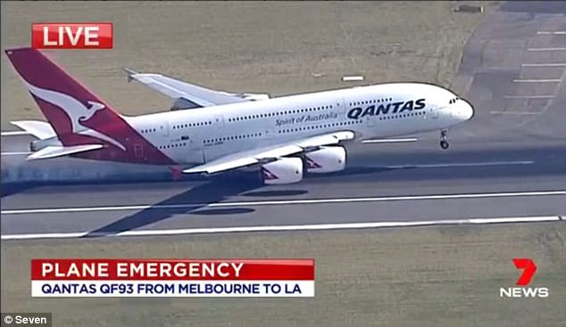 The plane (pictured) is expected to arrive in Los Angeles about four hours later than initially scheduled