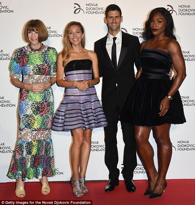 JelenaDjokovix with her husband Novak and Anna Wintour (left) and Serena Williams (right) at a gala dinner for their charity foundation presented byGiorgio Armani at Castello Sforzesco in Milan