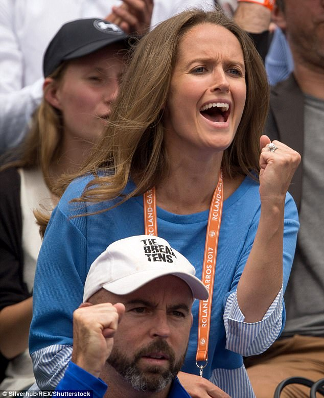 Her husband suffered a shock defeatin the first round of the Aegon Championships last week, but Kim's support will no doubt spur him on for Wimbledon