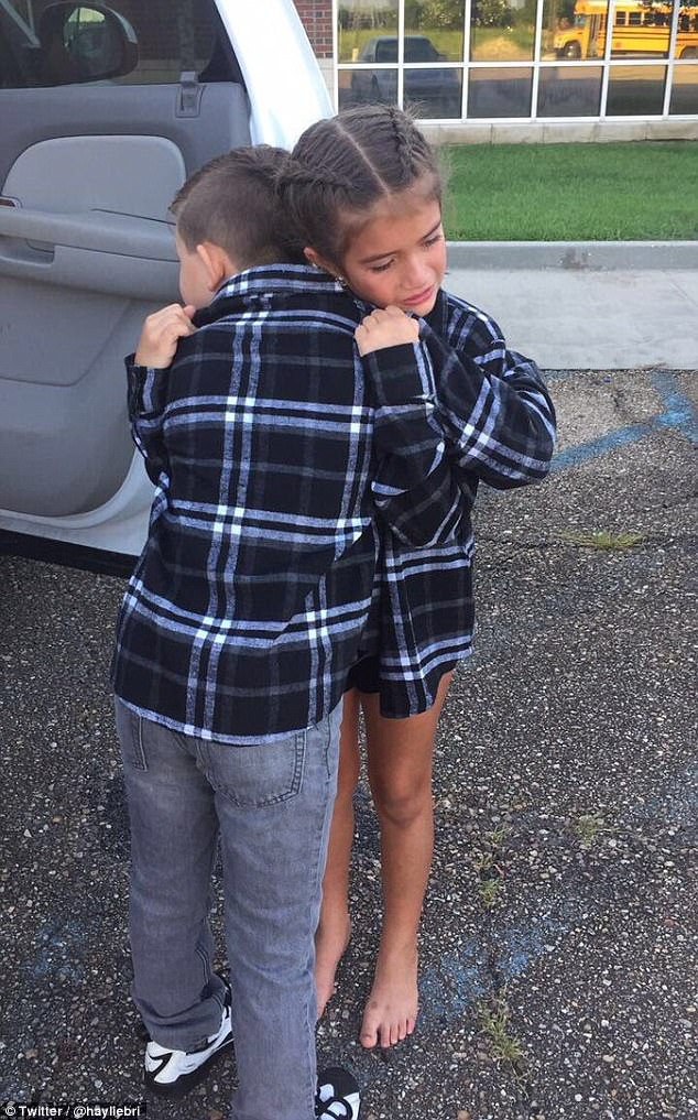A sad day:Merce Meynardie and his 'girlfriend' Mylee of Gonzales, Louisiana, have become a viral sensation with their heartbreaking goodbye