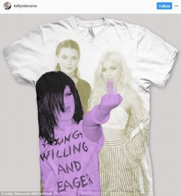 Right back at ya! Kelly Osbourne moved swiftly to take the two girls to task, tweeting out a pic of her own image superimposed on the front of a t-shirt baring Kylie and Kendall's pictures and giving them 'the finger'