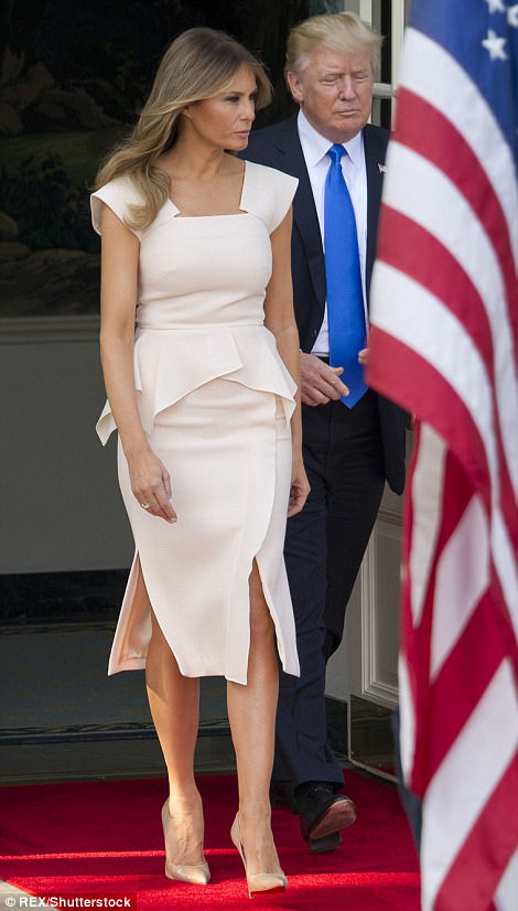 The First Lady wore a $2,319 Roland Mouret dress and a pair of $675 Christian Louboutin heels