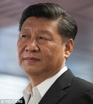 Sanctions: Last week the US placed sanctions on a bank dealing with North Korea but denied that it was punishing China. Pictured: China's president, Xi Jinping
