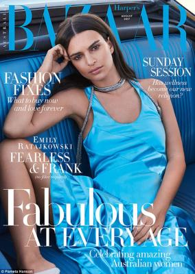 Smouldering beauty: Emily Ratajkowski looks far from her usually skimpily-clad self as she graces the cover of Harper's Bazaar Australia