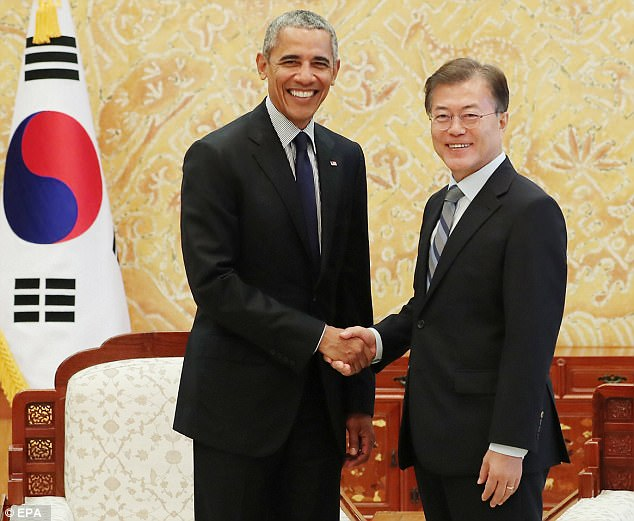 Obama is visiting South Korea this week to meet with President Moon Jae-in and speak at a forum hosted by South Korea's Chosun Ilbo newspaper
