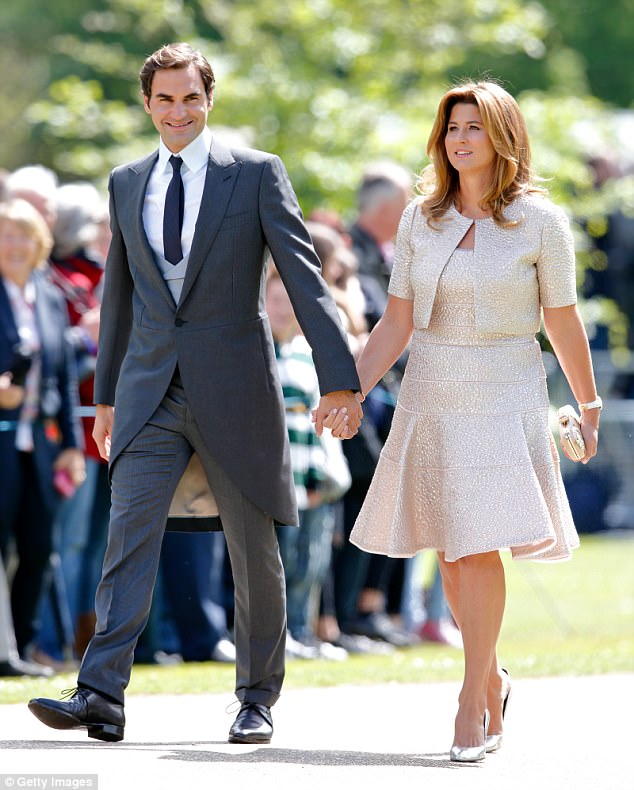 Roger and his wife Mirka attending Pippa Middleton's wedding in Englefield at the end of May 2017