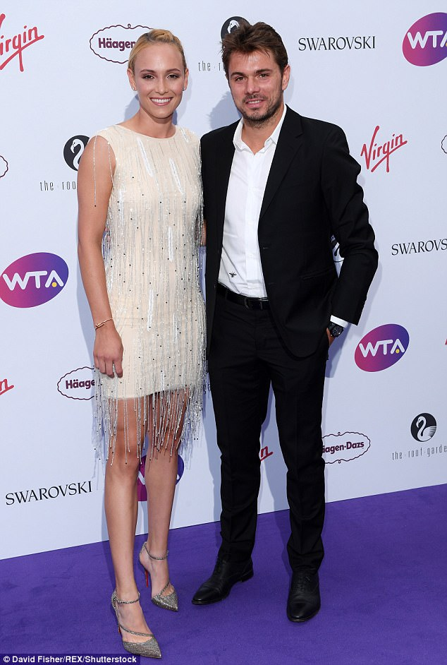 Donna Vekic, 21, with her partner and felllow player Stan Wawrinka, 32, at a pre-Wimbledon party