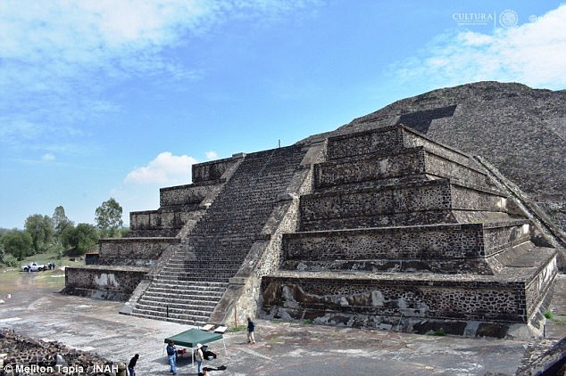The new tunnel runs from the center of the Plaza de la Luna to the Pyramid of the Moon, in the Teotihuacan, pictured above. Tunnels have previously been found under other temples, and it is beleived they were dug to 'replicate the underworld'.