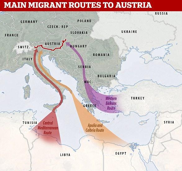 Un mapa que muestra las diferentes rutas que se pueden tomar por los migrantes para llegar a Austria de África y Oriente Medio