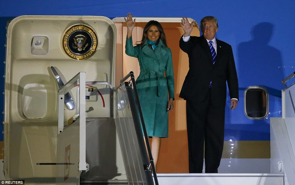 U.S. President Donald Trump and first lady Melania Trump arrived Wednesday night at Warsaw military airport in Warsaw, Poland, today