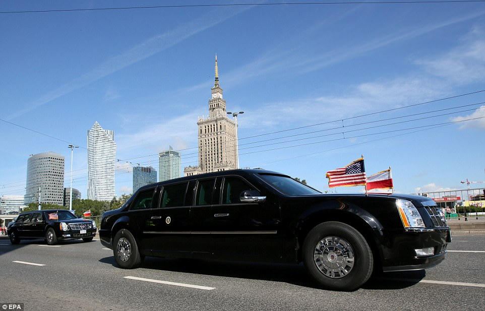 Trump (his motorcade pictured above) will speak to the leaders of Three Seas Initiative nations and address the Polish people at Warsaw's Krasinski Square