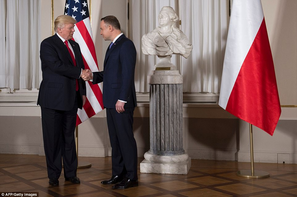 Thursday's joint appearance with Duda at Warsaw's royal castle was originally billed as a press conference