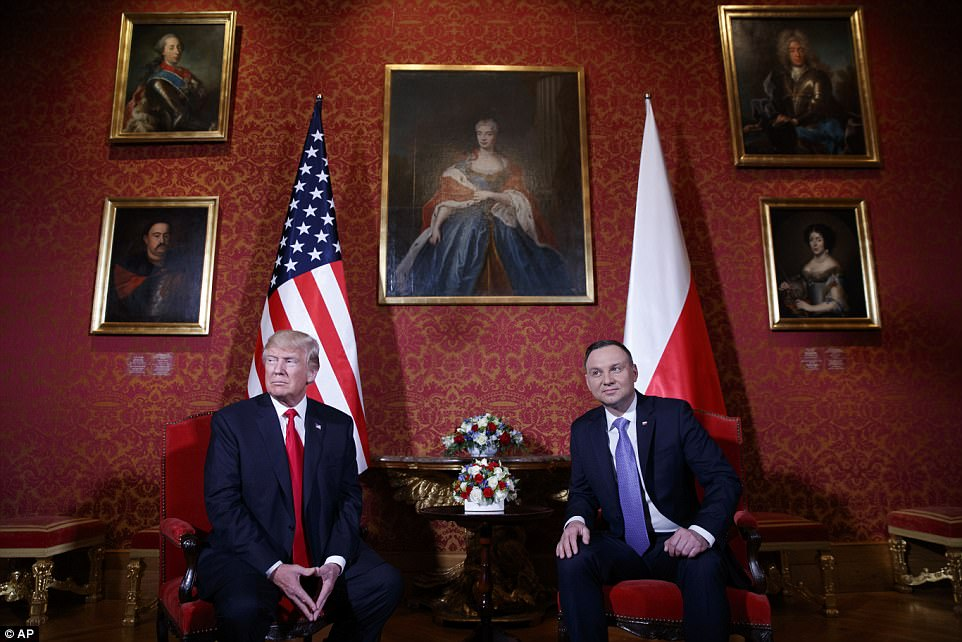 Trump and Duda shook hands at the Royal Castle in front of a white marble bust of Stanislaw August Poniatowski, the last king of Poland