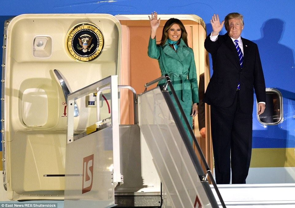 Trump and First Lady Melania Trump arrive on a state visit at the Okecie Airport in Warsaw on Tuesday evening