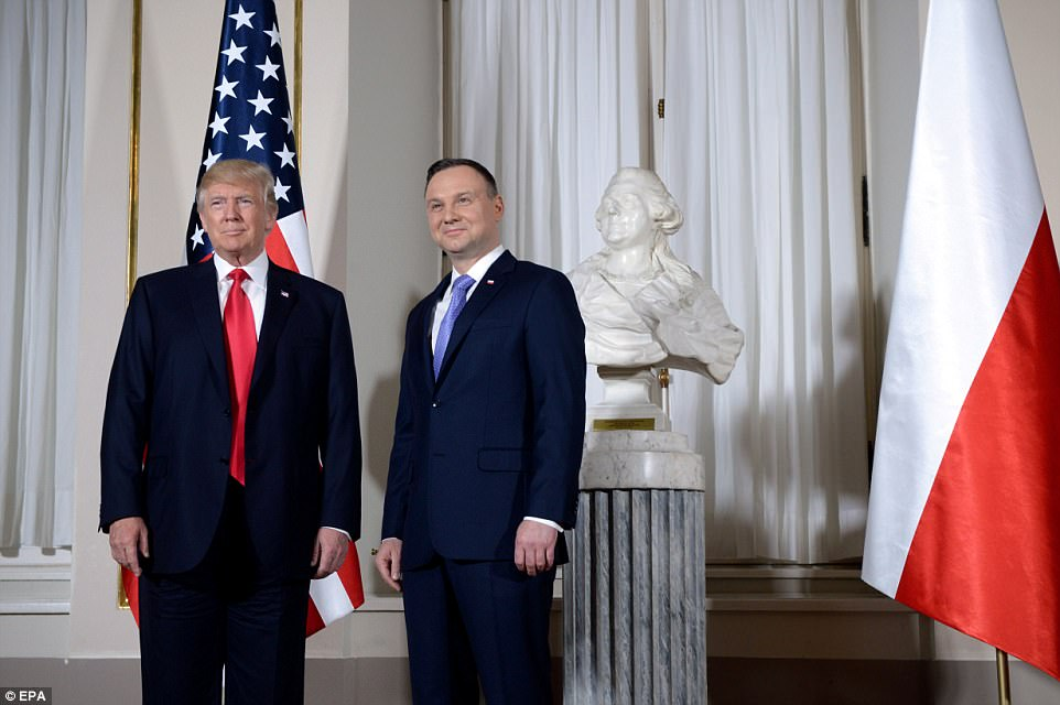 rump will speak to the leaders of Three Seas Initiative nations and address the Polish people at Warsaw's Krasinski Square later in the da