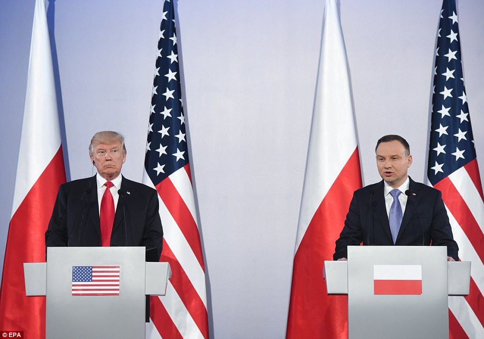 Trump held a joint press conference with Polish President Andrzej Duda on Thursday after the pair had private talks