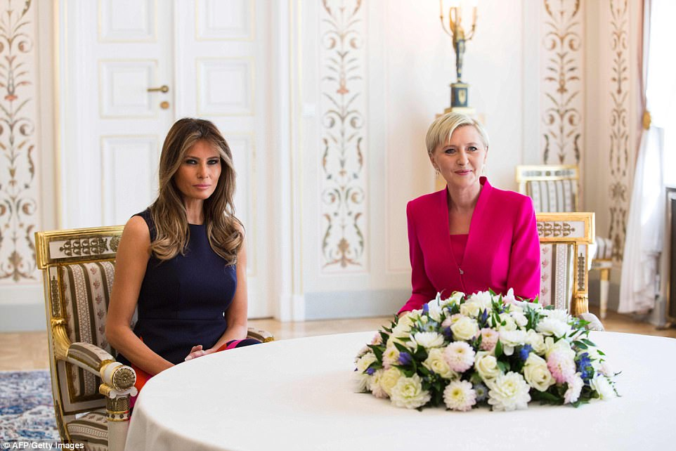 Meanwhile, First Lady Melania Trump met with Poland's First Lady, Agata Kornhauser-Duda at the Belvedere Palace in Warsaw
