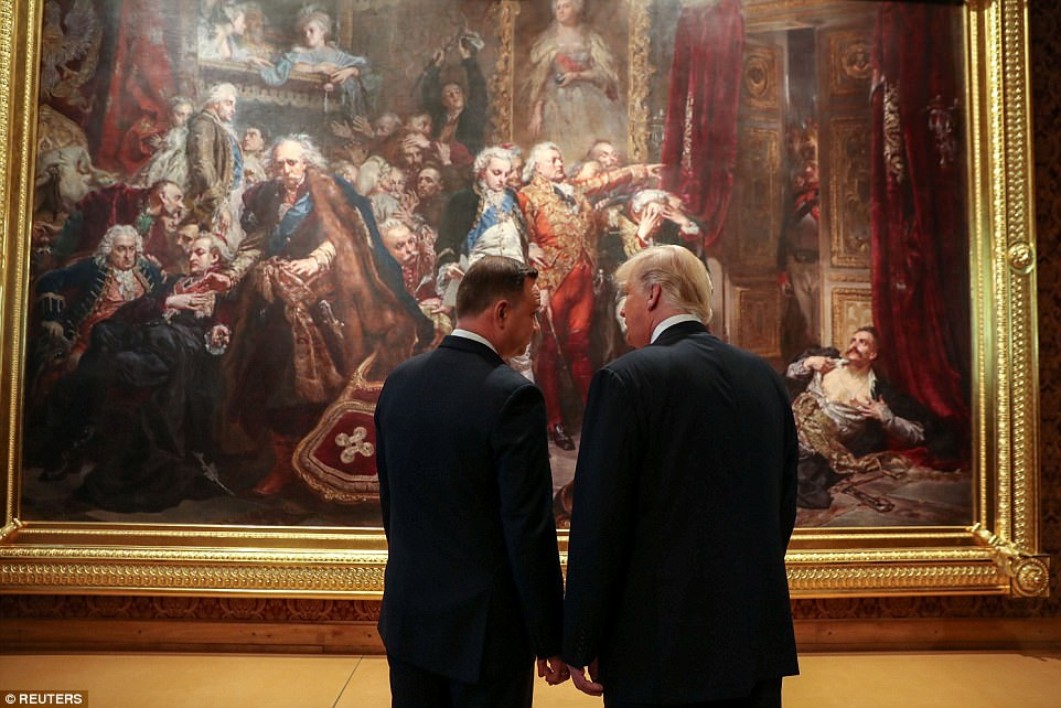 Polish President Duda gave Trump a tour of the royal castle on Thursday ahead of their joint press conference