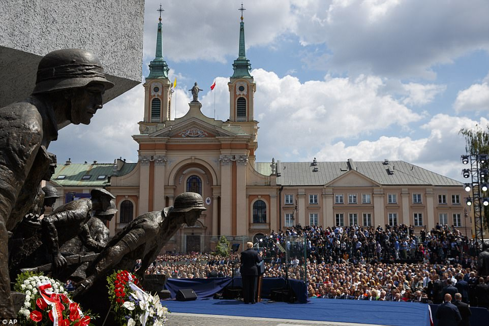 Trump addressed thousands of Poles from Krasinski Square, site of the Warsaw Uprising against Nazi occupation. More than 150,000 Poles died during the struggle to overthrow oppression