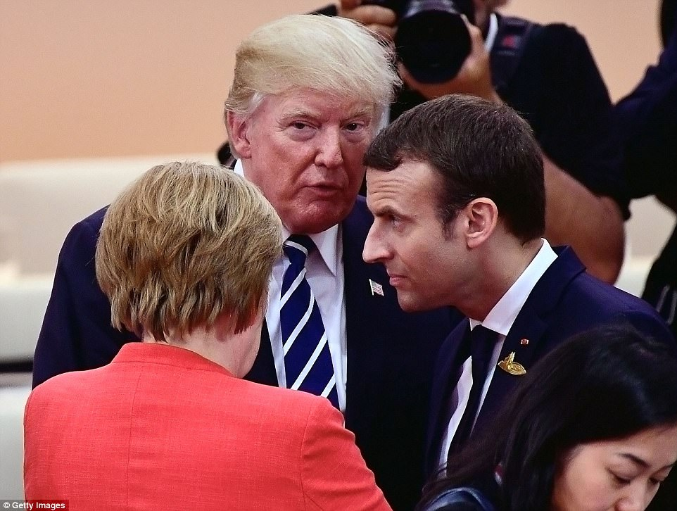 Trump speaks to Macron and Merkel ahead of the start of the Summit. Trump will be visiting Paris next week in honor of Bastille Day