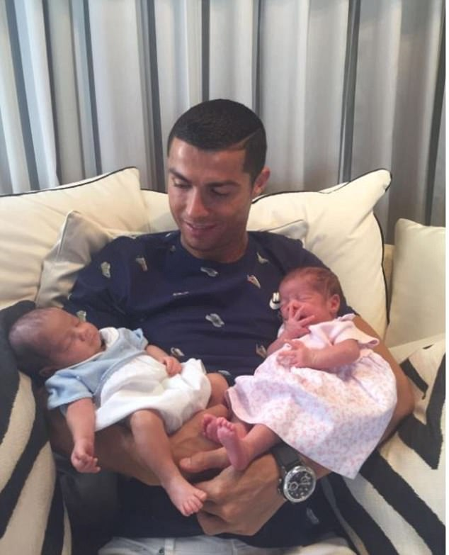 Ronaldo announced the birth of his son, Mateo, and daughter, Eva via an Instagram picture, in which he cradled the pair in his sinewy arms