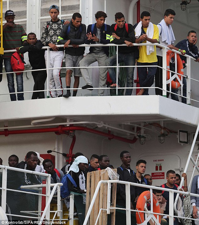 It emerges that the Mafia is exploiting the hundreds of millions in EU cash that has been given to Rome to help migrants. Pictured: Migrants in Palermo
