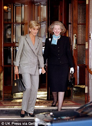 Diana, The Princess Of Wales Has Lunch With Her Stepmother Raine Spencer At The Connaught Hotel In Mayfair