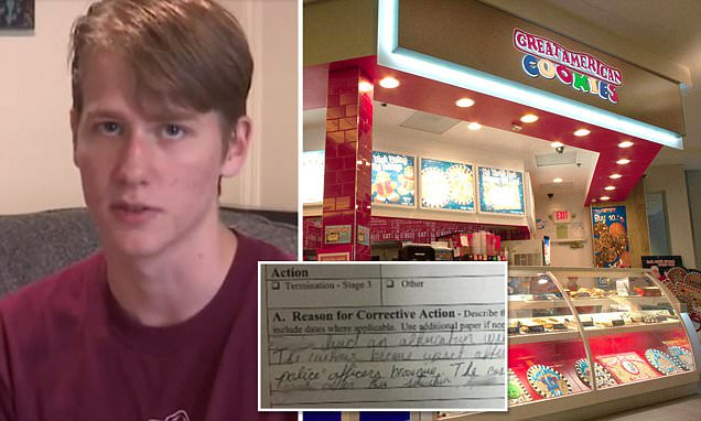 Cookie store suspends teen who paid for a police officer
