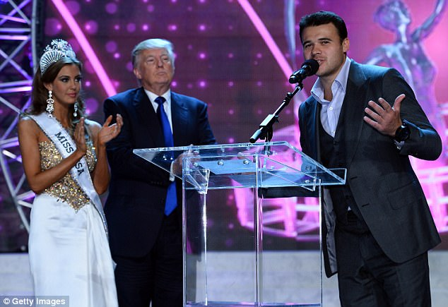 Miss Connecticut USA Erin Brady and Donald Trump look on as Russian singer Emin Agalarov speaks onstage during a news conference after Brady won the 2013 Miss USA pageant at PH Live at Planet Hollywood Resort & Casino on June 16, 2013 in Las Vegas, Nevada
