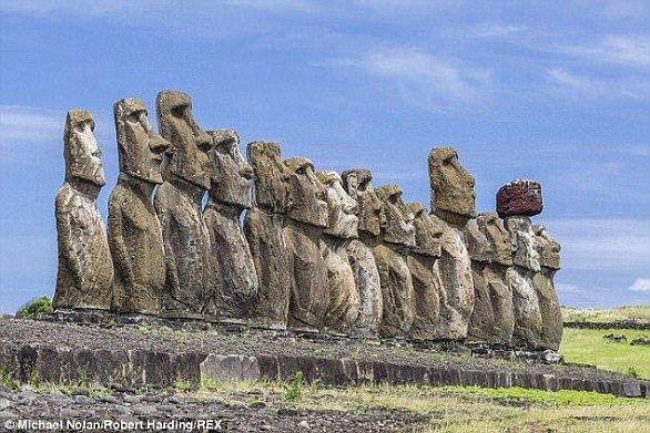 The Moai (pictured) are monolithic human figures carved by the Rapa Nui people on Easter Island, between 1,250 and 1,500 AD.